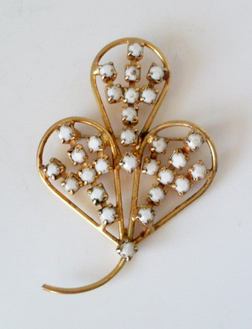 Vintage Leaf Brooch Goldtone and White Rhinestone