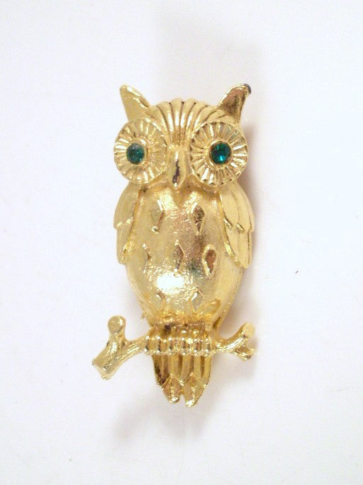Vintage Owl Brooch Gold-tone Diamond Belly