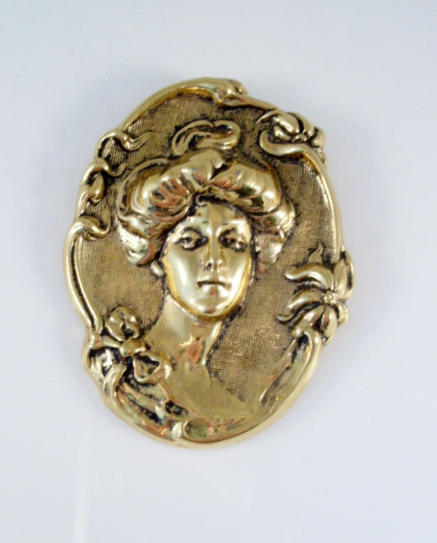 vintage art nouveau gibson girl brooch