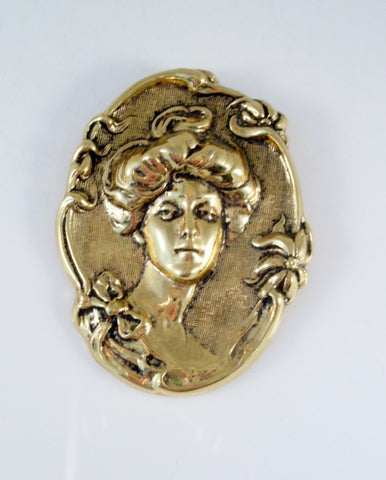 Vintage Cameo Brooch Gibson Girl Art Nouveau Gold Tone