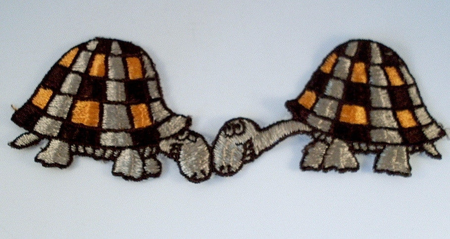 Vintage Sew On Patch Turtle Pair Brown Orange 1970's