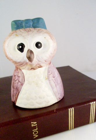 Vintage Owl Bell Cute Green Bow