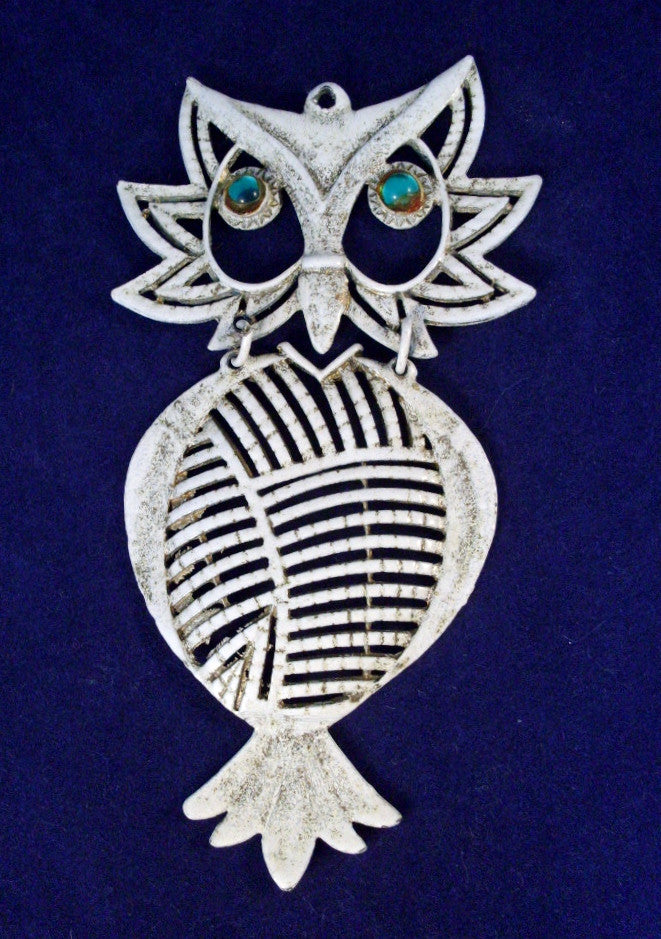 Vintage Owl Pendant Articulated White Enamel Green Eyes