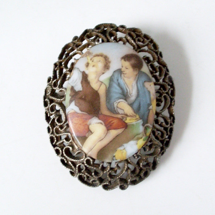 Vintage Painting Porcelain Brooch Framed Cameo Children Eating Cheese