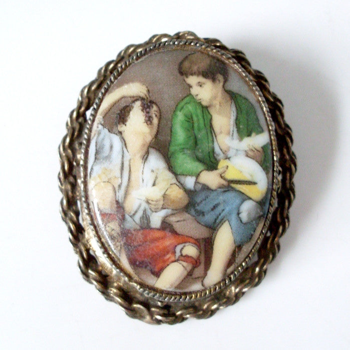 Vintage Painting Porcelain Brooch Framed Cameo Boys Eating Fruit