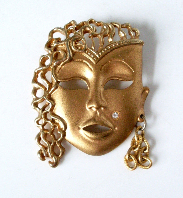 Vintage Goldtone Female Mask Brooch
