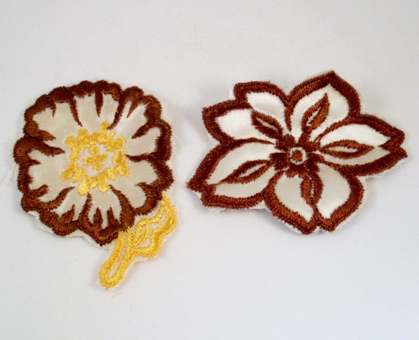 Sew On Patch Brown and Yellow Flowers 1970s