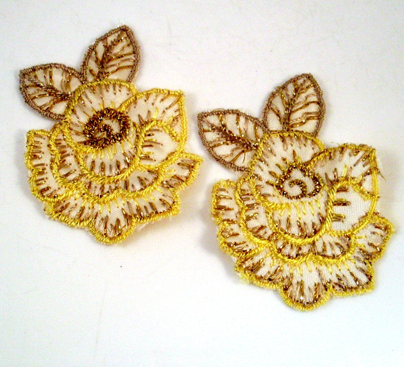 Vintage Sew On Patch Gold and Yellow Flowers 1970s Set of 2