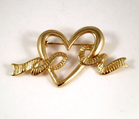 Vintage Brooch Heart and Ribbon Gold-tone