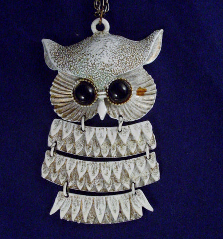 Vintage Owl Necklace Articulated White Enamel Black Eyes