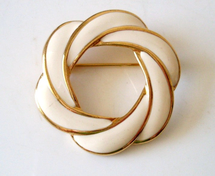 Vintage Brooch Swirl Wreath Design Ivory Enamel by Napier