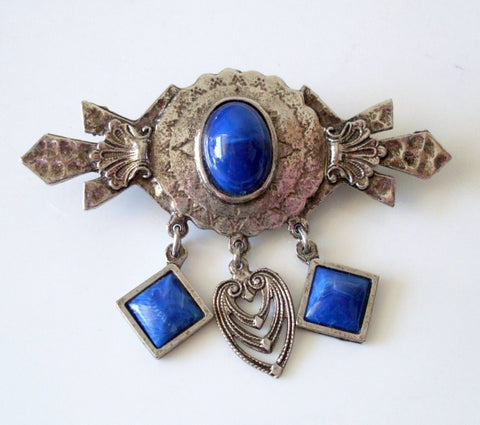 Vintage Art Deco Style Brooch Blue Faux Gemstone Cabochons