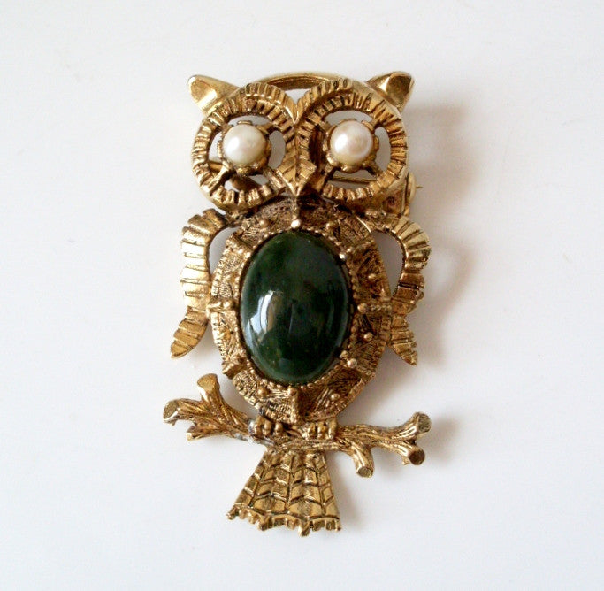 Vintage Owl Brooch/Pendant Gold-tone Green Belly Pearl Eyes