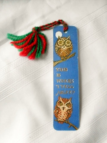 Vintage Owl Illustration Blue Paper Bookmark 1972