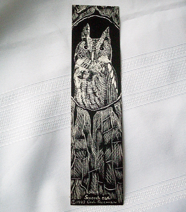Vintage Screech Owl Graphic Illustration Bookmark