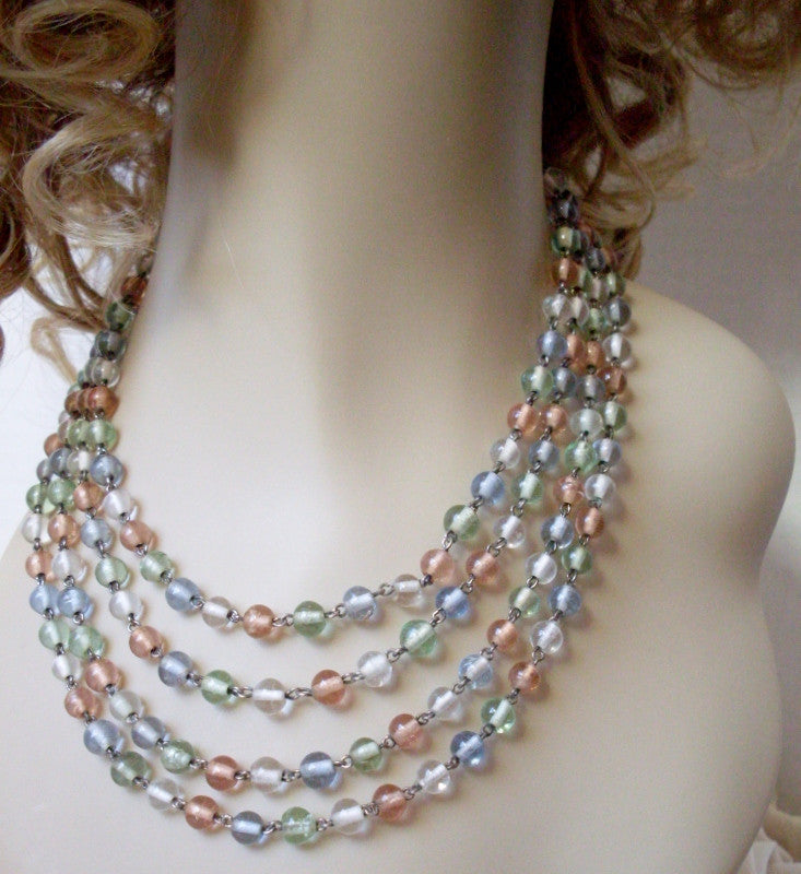 Vintage Four Strand Necklace Pastel Glass Bead