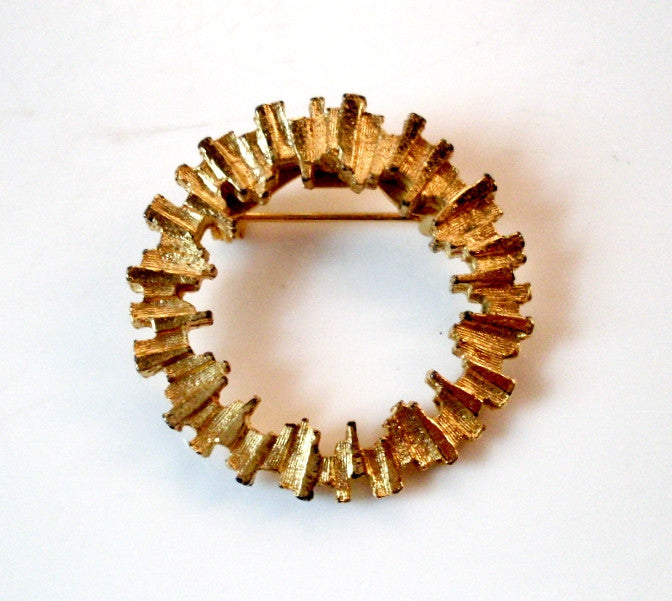 Vintage Brooch Modern Fragmented Circle Gold-tone