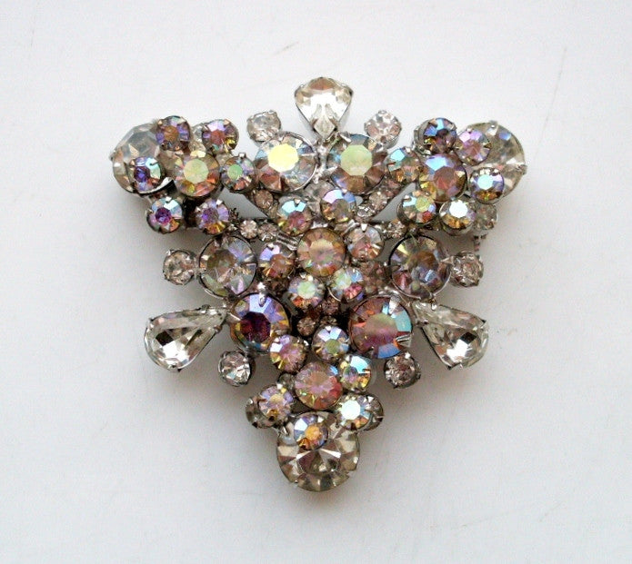 Vintage Juliana D&E Tiered AB Rinestone Brooch