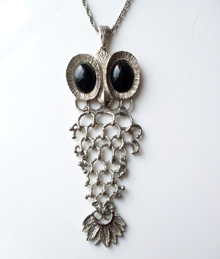 vintage owl necklace fish skeleton