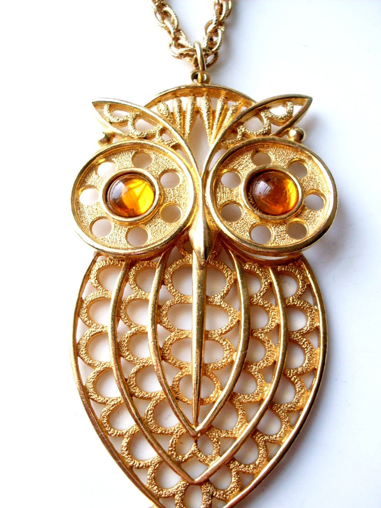 Vintage Owl Pendant Amber Eyes Articulated Gold Tone Geometric Style