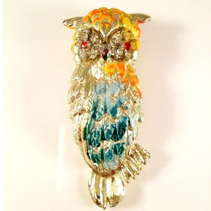 Vintage Owl Brooch Colorful Enamel Tropical