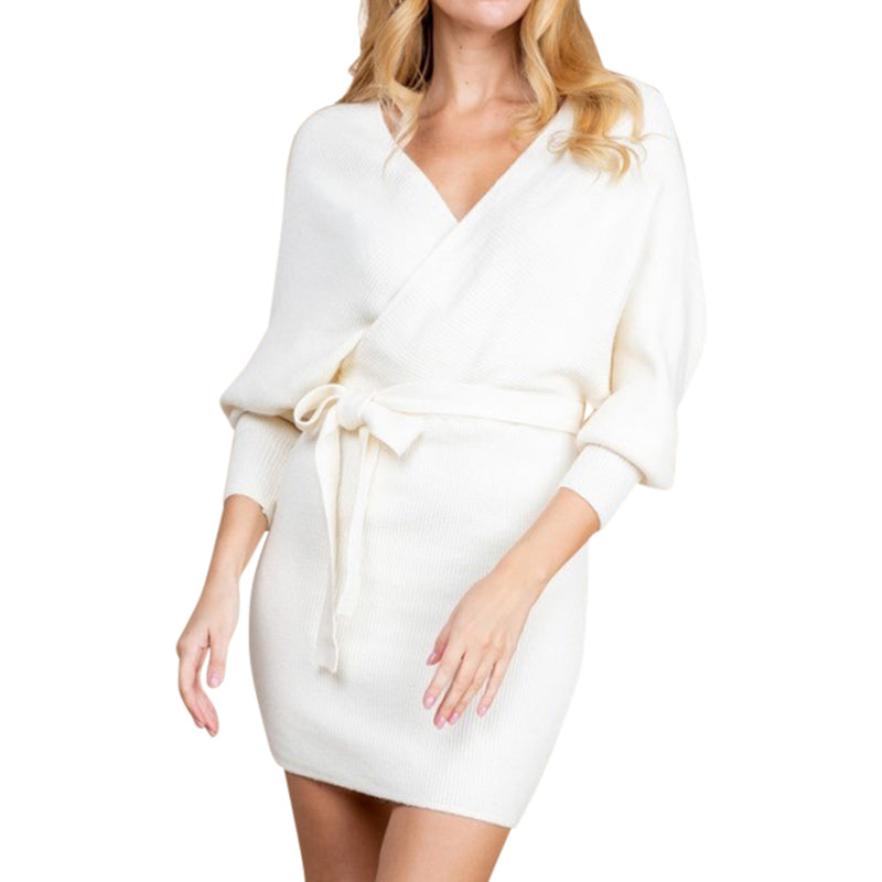 Long Sleeve Wrap White Sweater Dress