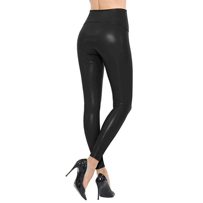 Load image into Gallery viewer, Vegan Leather Leggings With Thin Fleece Lining