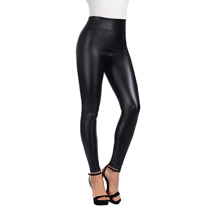 Vegan Leather Leggings With Thin Fleece Lining