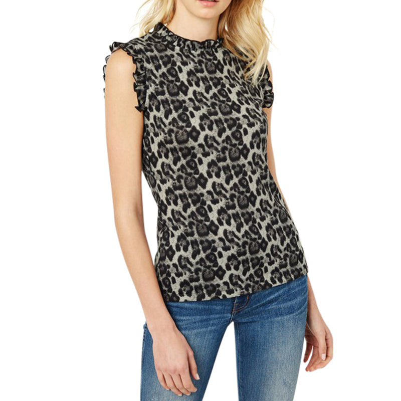 Load image into Gallery viewer, Leopard Ruffle High Neck Tank