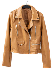 Camel Vegan Leather Jacket