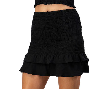 Ruffle Hem Smock Mini Skirt