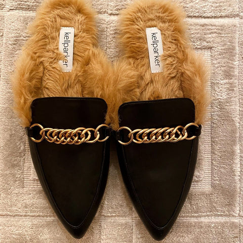 Vegan Fur Chain Mule