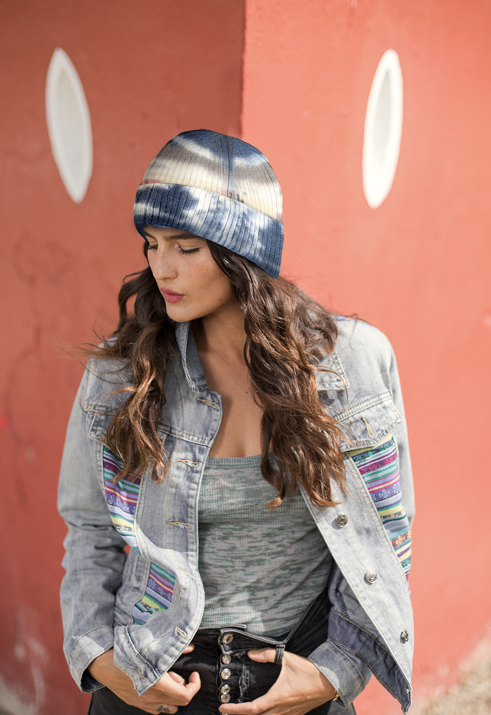 Load image into Gallery viewer, Navy Tie Dye Beanie