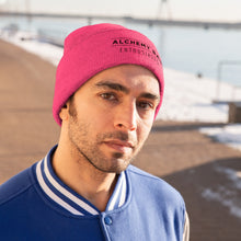 Load image into Gallery viewer, Knit Beanie - Alchemy Bar Enthusiasts - Black logo (9 colors)