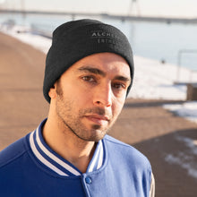 Load image into Gallery viewer, Knit Beanie - Alchemy Bar Enthusiasts - Silver / Grey Logo (10 colors)