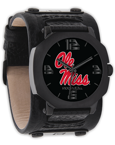 University of Mississippi Black Leather Band Wrist Watch