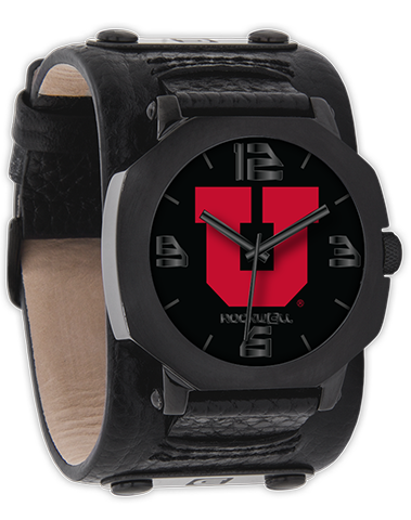 University of Utah Black Leather Band Wrist Watch