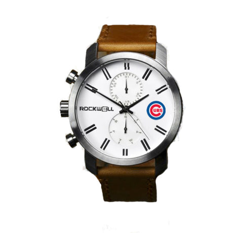 Chicago Cubs Rockwell Apollo Watch - Brown Leather