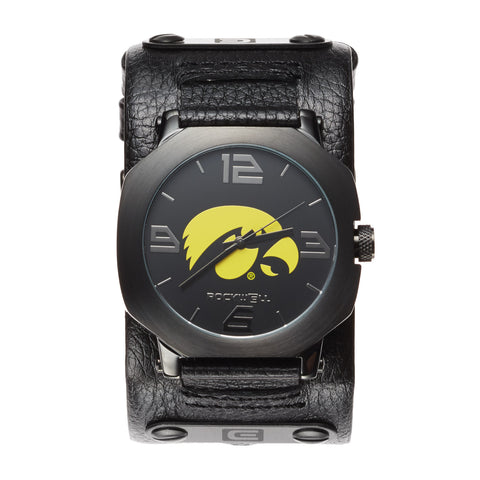 Iowa Hawkeyes Rockwell Assassin Watch - Genuine Leather and Stainless Steel