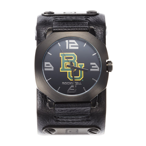 Baylor Bears Rockwell Assassin Watch - Genuine Leather and Stainless Steel