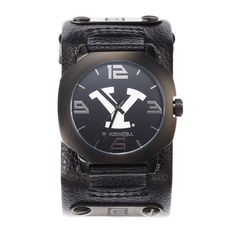BYU Cougars Rockwell Assassin Watch - Genuine Leather and Stainless Steel