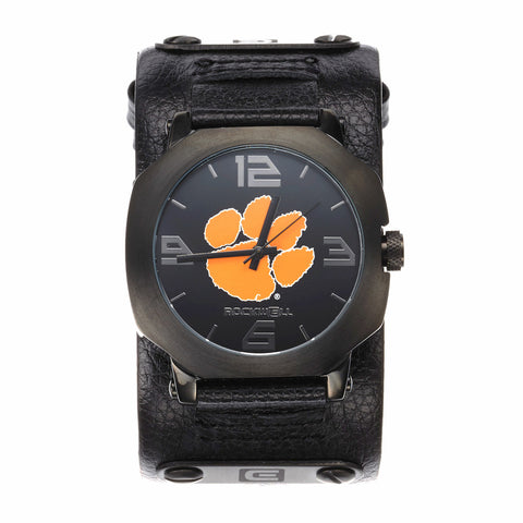 Clemson Tigers Rockwell Assassin Watch - Genuine Leather and Stainless Steel