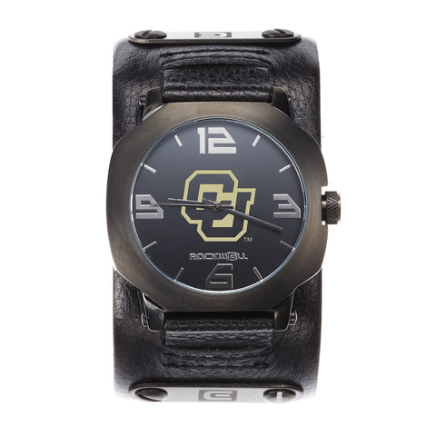 Colorado Buffaloes Rockwell Assassin Watch - Genuine Leather and Stainless Steel