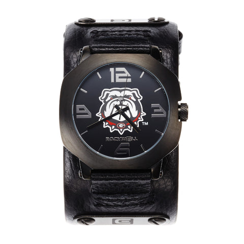 Georgia Bulldogs Rockwell Assassin Watch - Genuine Leather and Stainless Steel