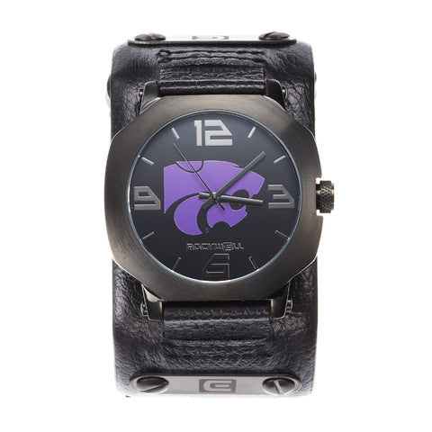 Kansas State Wildcats Rockwell Assassin Watch - Genuine Leather and Stainless Steel