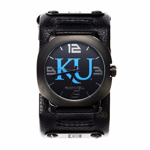 Kansas Jayhawks Rockwell Assassin Watch - Genuine Leather and Stainless Steel