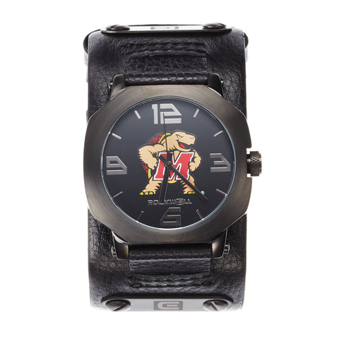 Maryland Terrapins Rockwell Assassin Watch - Genuine Leather and Stainless Steel