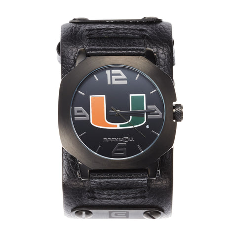 Miami Hurricanes Rockwell Assassin Watch - Genuine Leather and Stainless Steel