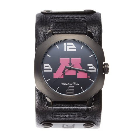 Minnesota Golden Gophers Rockwell Assassin Watch - Genuine Leather and Stainless Steel