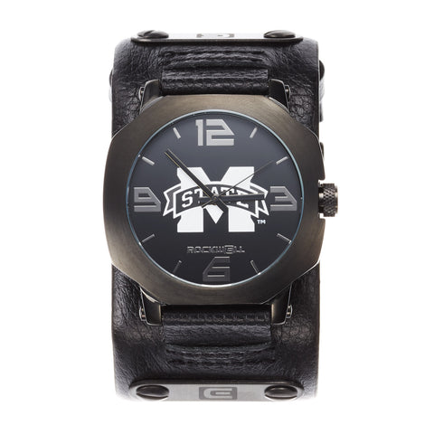 Mississippi State Bulldogs Rockwell Assassin Watch - Genuine Leather and Stainless Steel